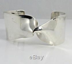 Sterling Silver Pekka Piekainen Finland Modernist Twist Cuff Bracelet 1975