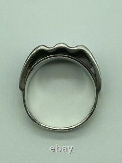 Sterling Silver Vintage J Tostrup Norway Blue Enamel Bolge Ring Mid Century S7.5