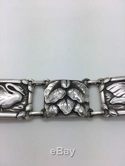 Stunning Modernist Georg Jensen Sterling Silver Bracelet With Swans
