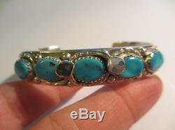 Stunning Zuni Effie C 5 Turquoise Stone Snake/serpent Cuff Bracelet-no Res