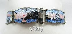 Superb Vintage Norway Enamel Sterling Silver 925 830 Panel Link 7 1/2 Bracelet