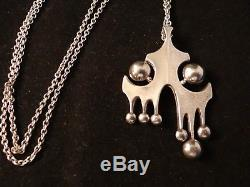 Swedish Pendant And Chain Sterling Silver 925s Sweden
