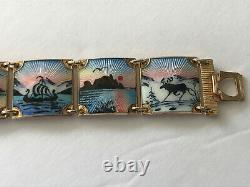 THE BEST Vintage Norway Sterling Silver Scenic Enamel Bracelet Nils Elvik