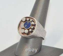 THOR SELZER Sterling Silver & Solid Gold Modernist Lapis Denmark Ring Vintage