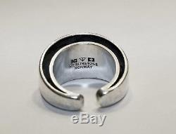 TONE VIGELAND Modernist Double Circle Plain Ring 925s 1969 Norway Vintage Size 6
