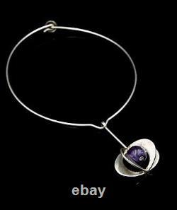 Theresia Hvorslev for Alton Modernist Amethyst Silver Pendant, Sweden 1970s