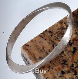 Tone Vigeland Vintage Hand Hammered Sterling Silver Modernist Bangle Bracelet