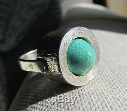 Unique Vintage Mid Century Danish DB Textured 830 S Silver Domed Amazonite Ring