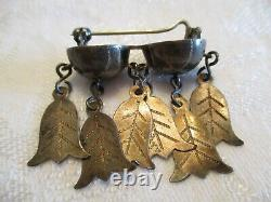 VERY RARE & EARLY Antique Vintage STERLING SILVER Norway SOLJE Dangle BROOCH PIN