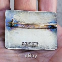VINTAGE DA STERLING SILVER 925 NORWAY DAVID ANDERSN ENAMEL MODERNIST BROOCH Pin