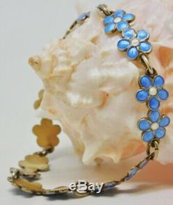 VINTAGE Finn Jensen NORWAY 925 Enamel Guilloche Flower Bracelet RARE Signed EUC