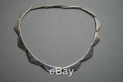 VINTAGE Modernist HANS HANSEN Sterling Silver Peak Boomerang Necklace