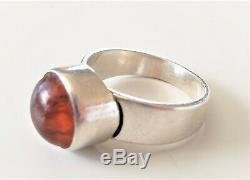VNTG 925 Silver & Amber Ring ERIK GRANIT Finland Hallmarked/SIGNED Early 1960s