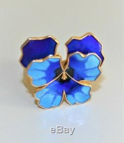 VNTG David Andersen Norway 925 Enamel Guilloche Blue Pansy Flower Ring FABULOUS