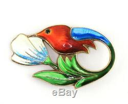 VTG David Andersen Norway Gilt Sterling Enamel Guilloche Hummingbird Brooch