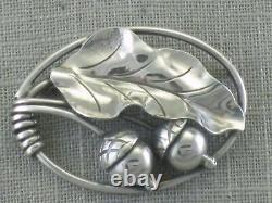 VTG Georg Jensen USA Sterling Silver Acorn Oak Leaf Pin Brooch 105 Handwrought