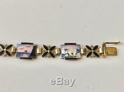 VTG NORNE AKSEL HOLMSEN NORWAY Enamel Panel Bracelet 7