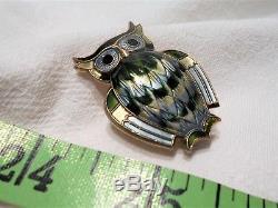 VTG NORWEGIAN David Andersen OWL BROOCH Sterling Silver GUILLOCHE Blue Green Pin