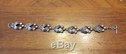 VTG Niels Erik N. E. FROM Denmark Scandinavian Sterling Silver Leaf Link Bracelet