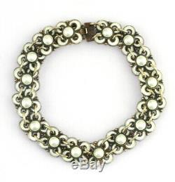 VTG Willy Winnaess David Andersen Pearl Enamel Gilt Sterling Silver Bracelet