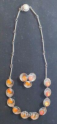 VintageNeils Erik FROM Modernist Denmark 925 Baltic Amber Necklace & Pendant
