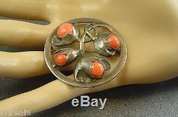 Vintage 1920's Evald Nielsen Sterling Silver Angel Skin Coral Flower Brooch Pin