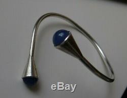 Vintage 1955 Birger Haglund Sterling Silver 925s With Blue Stones Bracelet Swede