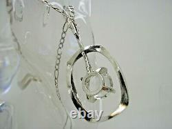 Vintage 1960's 835 Scandinavian Silver Rock Crystal Pendant 30 Silver Chain