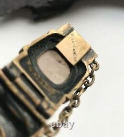 Vintage 1960s Brutalist Pentti Sarpaneva Kelo Rose Quartz Bracelet Turun Hopea