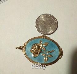 Vintage 830S Silver Guilloche Enamel Arne Nordlie Large Rose Pendant