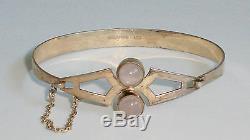 Vintage 925 Sterling Silver Cuff Bracelet withRose Quartz, Finland HM's 1971