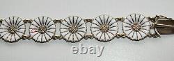 Vintage A. Michelsen Daisy Sterling Silver 925S Enamel Bracelet Denmark