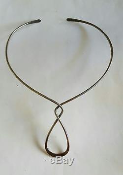 Vintage Alton Sweden Sterling Silver Modernist Sculpture Collar Cuff Necklace