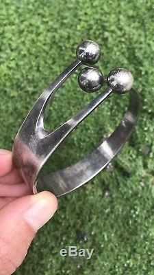 Vintage Anna Greta Eker Sterling Silver Cuff Bracelet Norway Norwegian MCM
