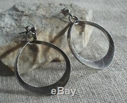 Vintage Anna Greta Eker Sterling Silver Mid-Century Modernist Dangle Earrings