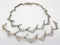 Vintage Anton Michelsen Denmark Sterling Silver Boomerang Necklace & Bracelet