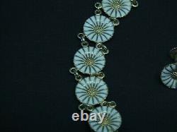 Vintage Anton Michelsen Denmark Sterling Silver Enamel Marguerite Daisy Bracelet