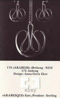 Vintage Arabesk 175 Anna-Greta Eker Plus Studio Norway 925 Silver Pendant &Chain