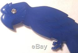 Vintage BUCH + DEICHMANN Copenhagen Blue Large Molded Parrot McCaw Pin