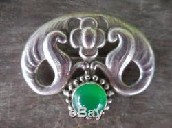 Vintage Bernard Hertz Denmark 828S Silver Art Nouveau Skonvirke Pin Brooch