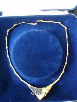 Vintage Bjorn Weckstrom Lapponia 14k Gold Modernist Necklace Finland