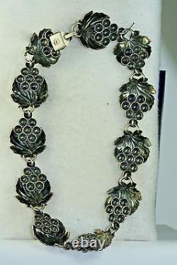 Vintage Cof Carl Ove Frydensberg Denmark Sterling Silver Grapes Necklace