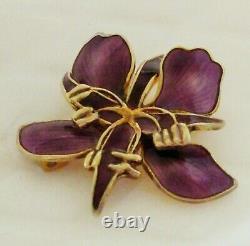 Vintage DAVID ANDERSEN Norway Sterling Enameled Purple Flower Orchid Pin Brooch
