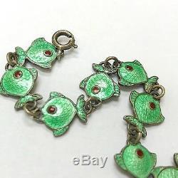 Vintage Danish Bracelet Fish Silver 925 Green Enamel Gulloche Volmer Bahner VB