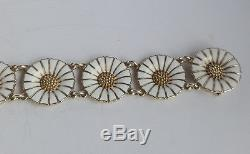 Vintage Danish Georg Jensen Gilded Silver 925s White Enamel Daisy Bracelet 18 mm
