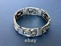 Vintage Danish Munksgaard Sterling Silver Floral Panel Bracelet-7