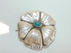 Vintage Danish Scandinavian Hans Jensen H. J. Modernist Flower Silver Brooch 830s