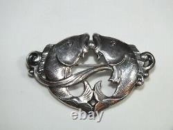 Vintage Danish Silver 830s Signed Eiler & Marloe E&m Modernist Fish Brooch 216