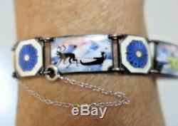 Vintage David Andersen. 925 Silver Guilloche Enamel Bracelet