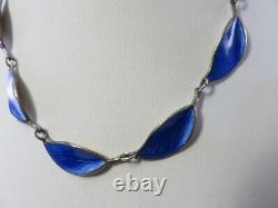 Vintage David Andersen Cobalt Blue Guilloche Enamel Leaf Link Necklace